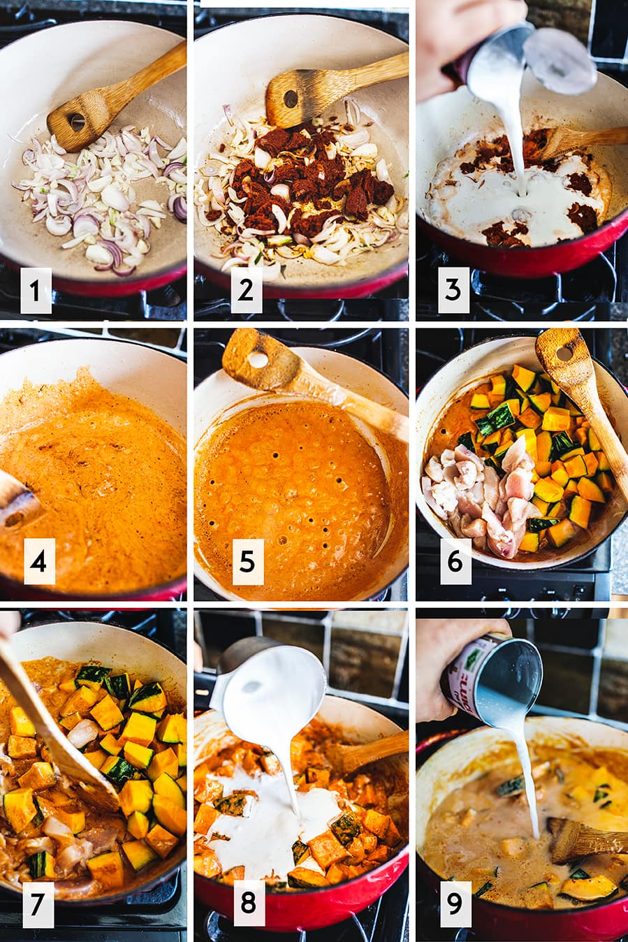 How to cook red thai curry chicken step by step 1 of 2