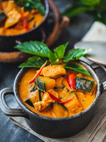 red Thai curry with chicken and Kabocha squash