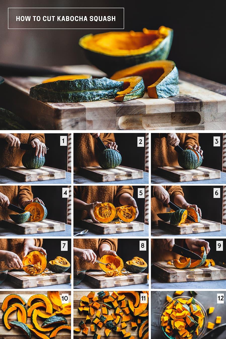 How to cut kabocha squash step by step pictures. What is a kabocha squash and how to cook with Kabocha squash. Easy recipes for kabocha squash.