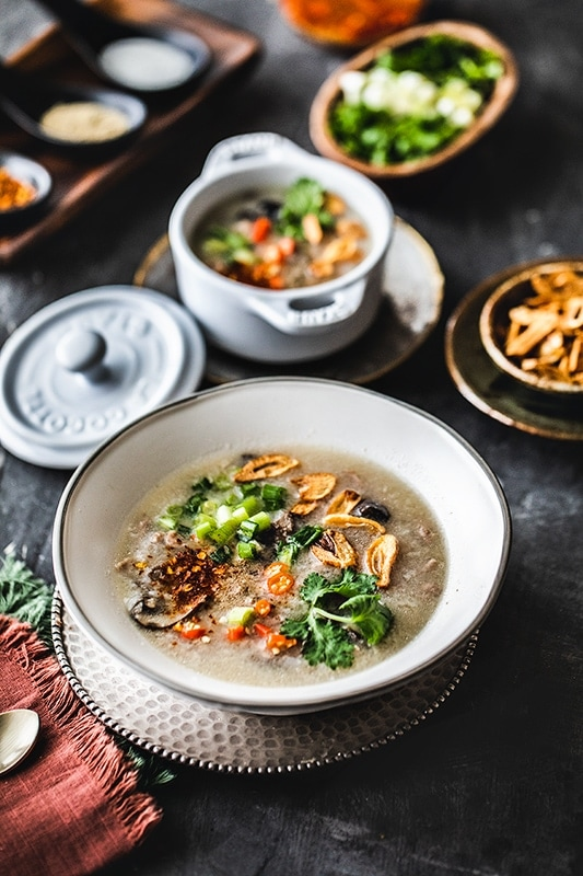 Thai breakfast rice soup, Kao Tom