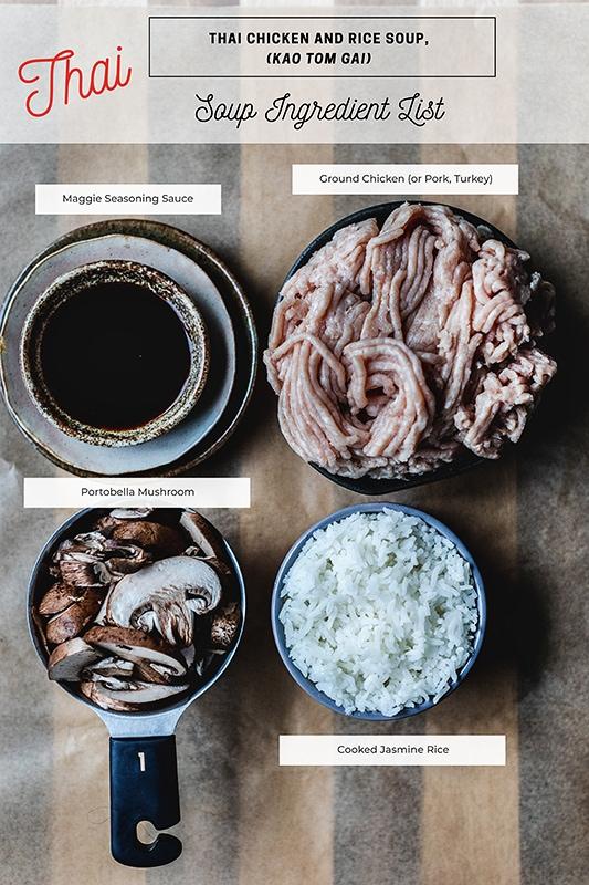 Thai Rice soup stock ingredients. Mushroom, rice, ground chicken, and seasoning sauce