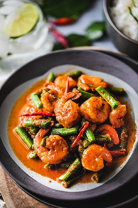 Easy Red Curry Green Beans with Shrimp (Pad Prik King)