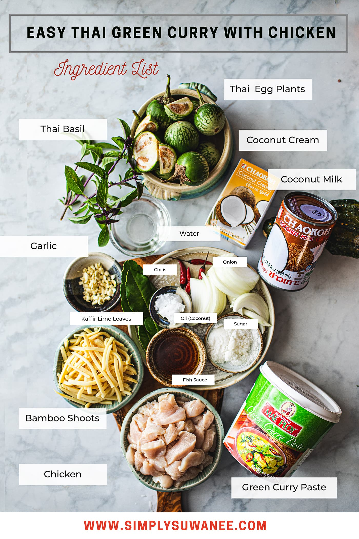 This easy green curry recipe that is filled with incredible flavor from the green curry paste cooked in coconut milk, chicken, bamboo shoots, kaffir lime leaves and Thai eggplants. You can have this authentic Thai green curry for dinner in less than 30 minutes! #thaigreencurry #greencurry #greencurryrecipe #thaicurry