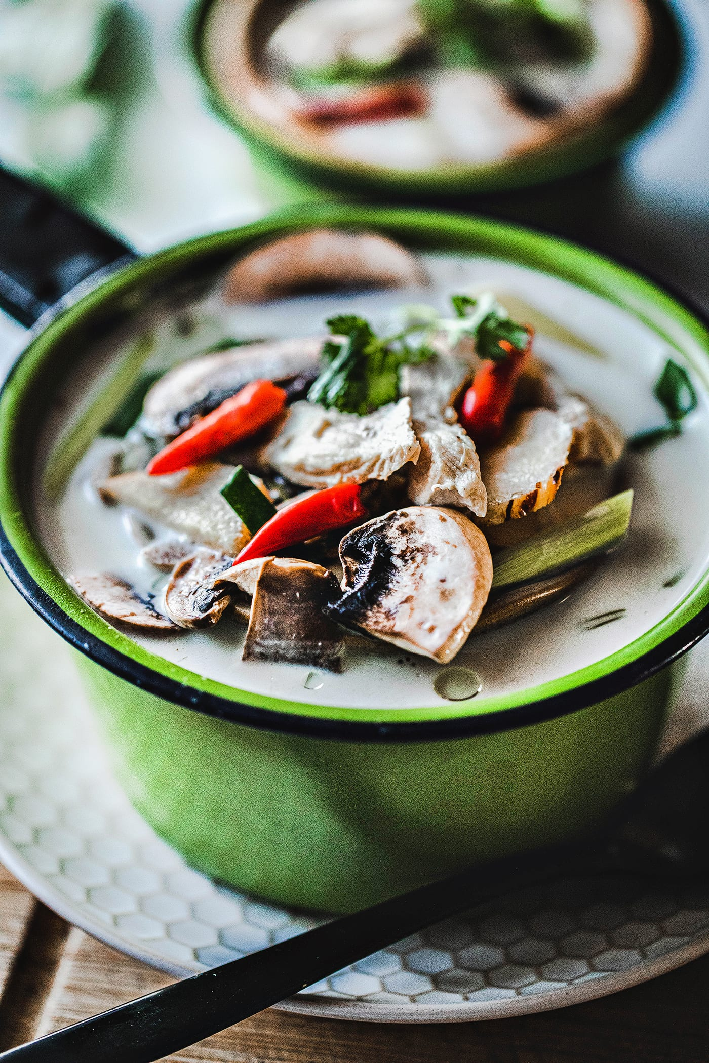 Tom Kha gai is a very well known Thai soup made by using chicken, coconut milk, herbs fish sauce, and lime juice. It is a creamy light soup that is not only delicious but also full of fresh herbs that will keep you healthy all winter long. #thaicoconutsoup #thaichickencoconutsoup #tomkhagai #thaicoconutchickensoup #easythaisoup