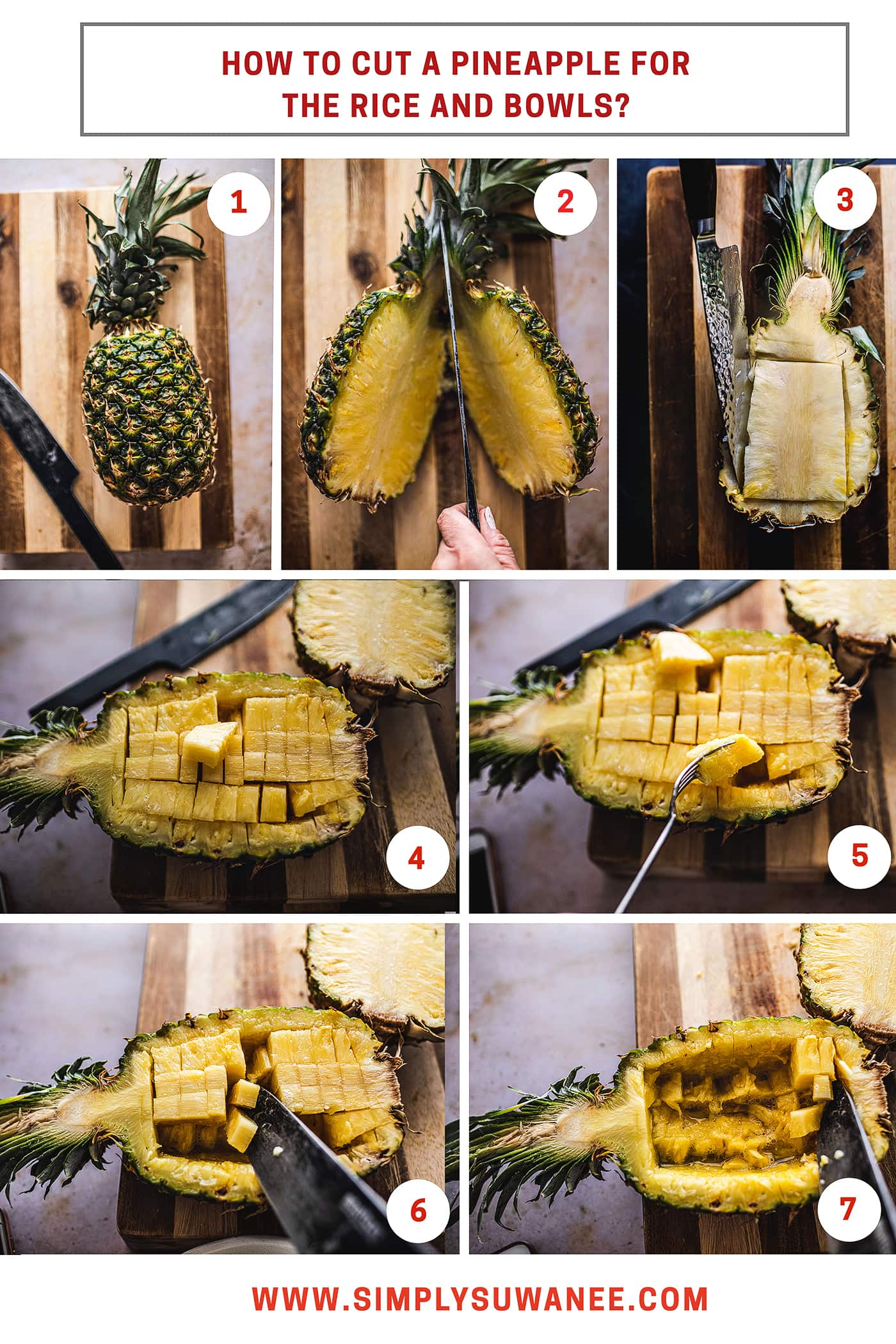 Have you ever wondered how to make pineapple-shaped fruit bowls? Wonder no more! I'm going to show you step-by-step pictures of exactly how to cut a pineapple for my fried rice recipe and bowls.#pineapples #howtocutpineapple #cuttingpineapple#pineapplebowl #cuttingpineapplebowl