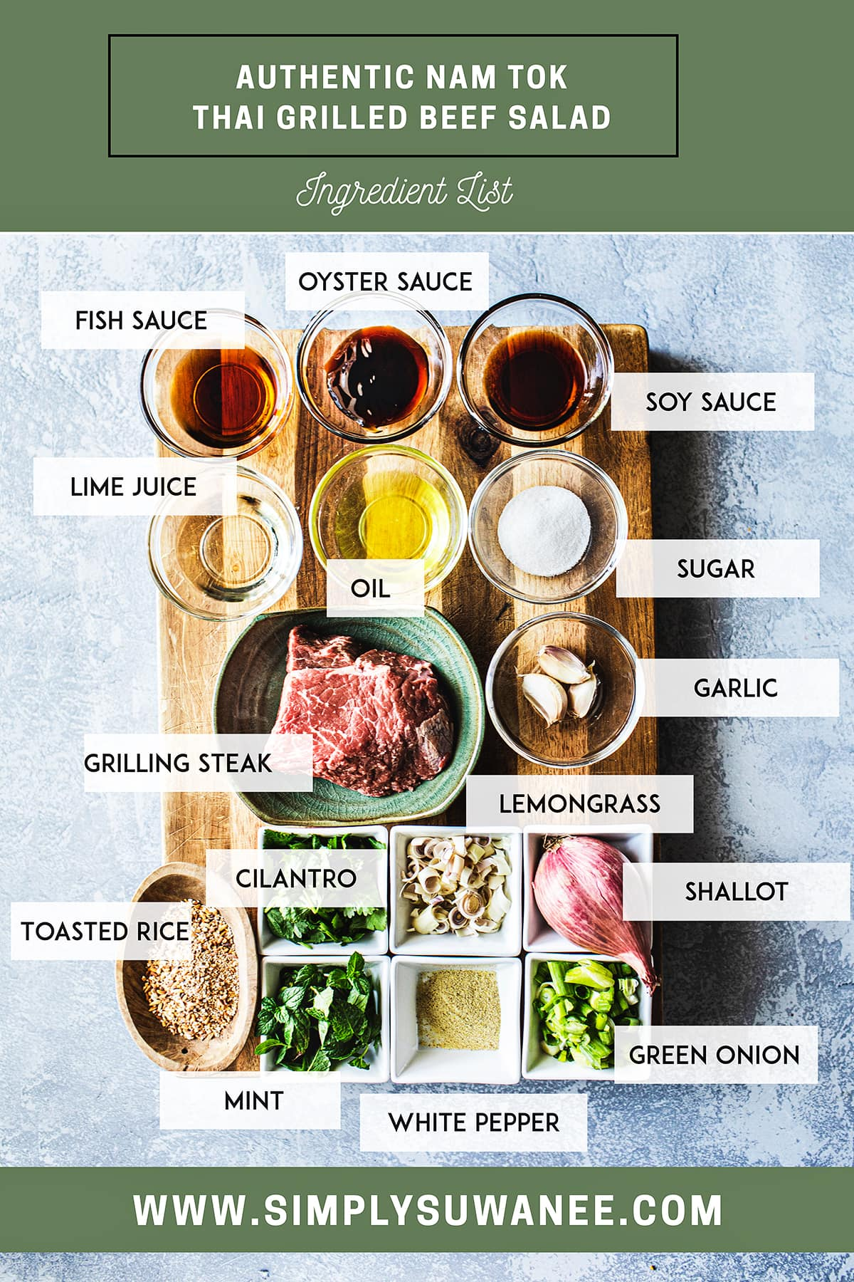 A full list of ingredients for making thai beef waterfall salad on a cutting board