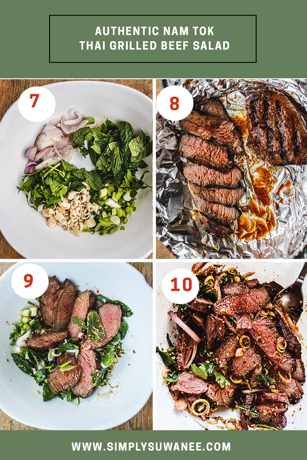 step by step instruction, 7-10 on how to make Thai beef salad recipe