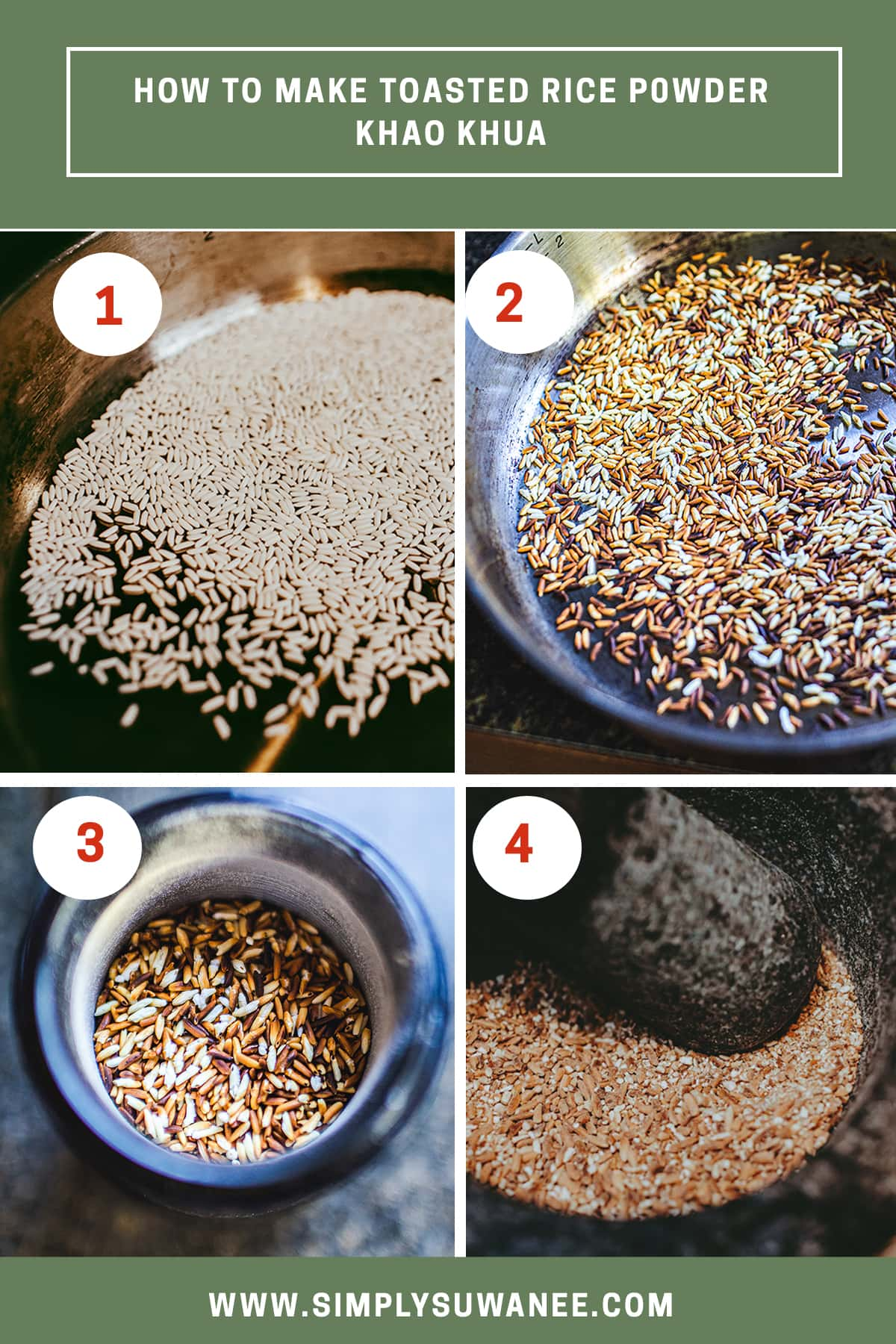 process shots of step 1-4 of how to make toasted rice powder