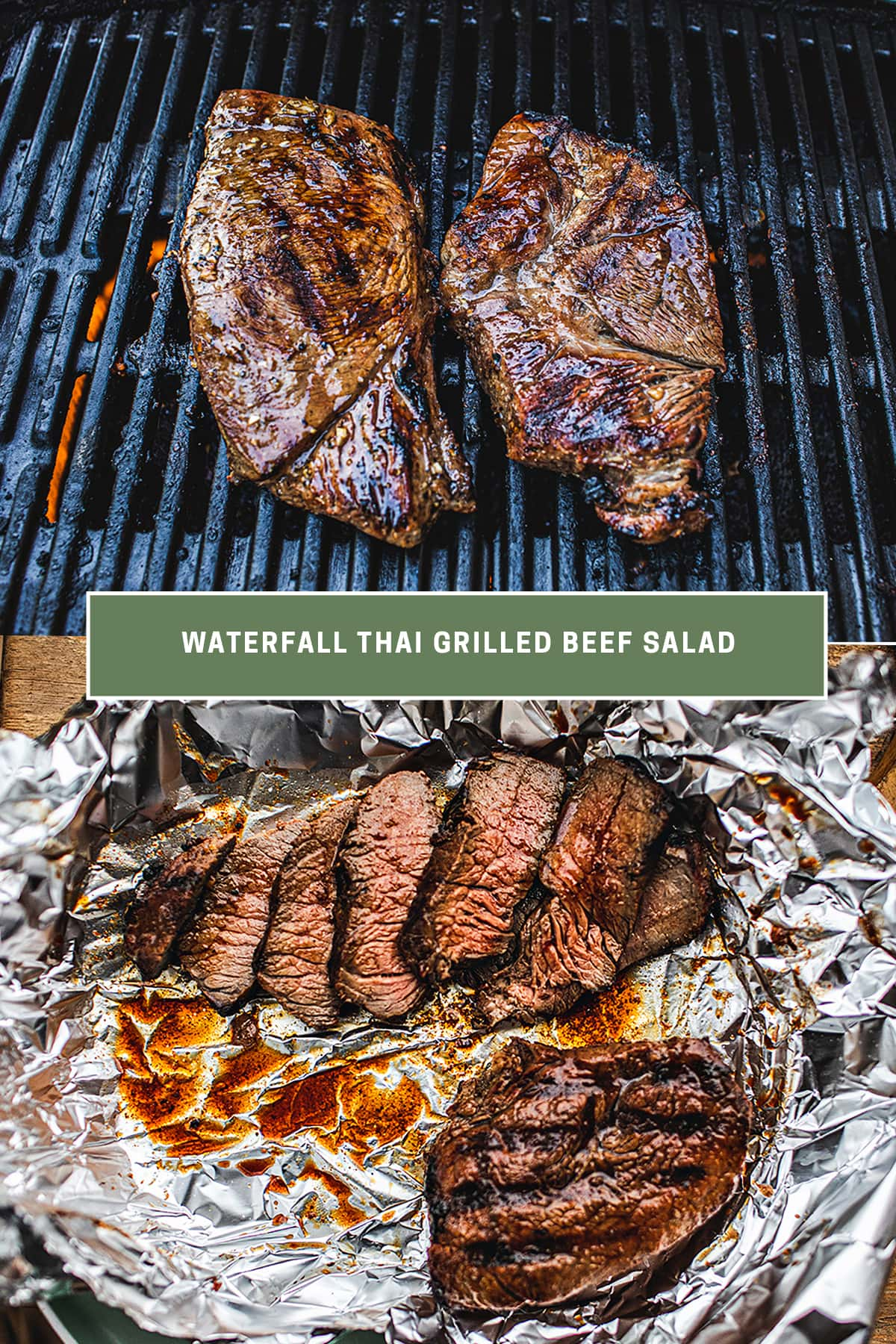 2 pieces of steak on a grill and sliced steak in aluminum foil