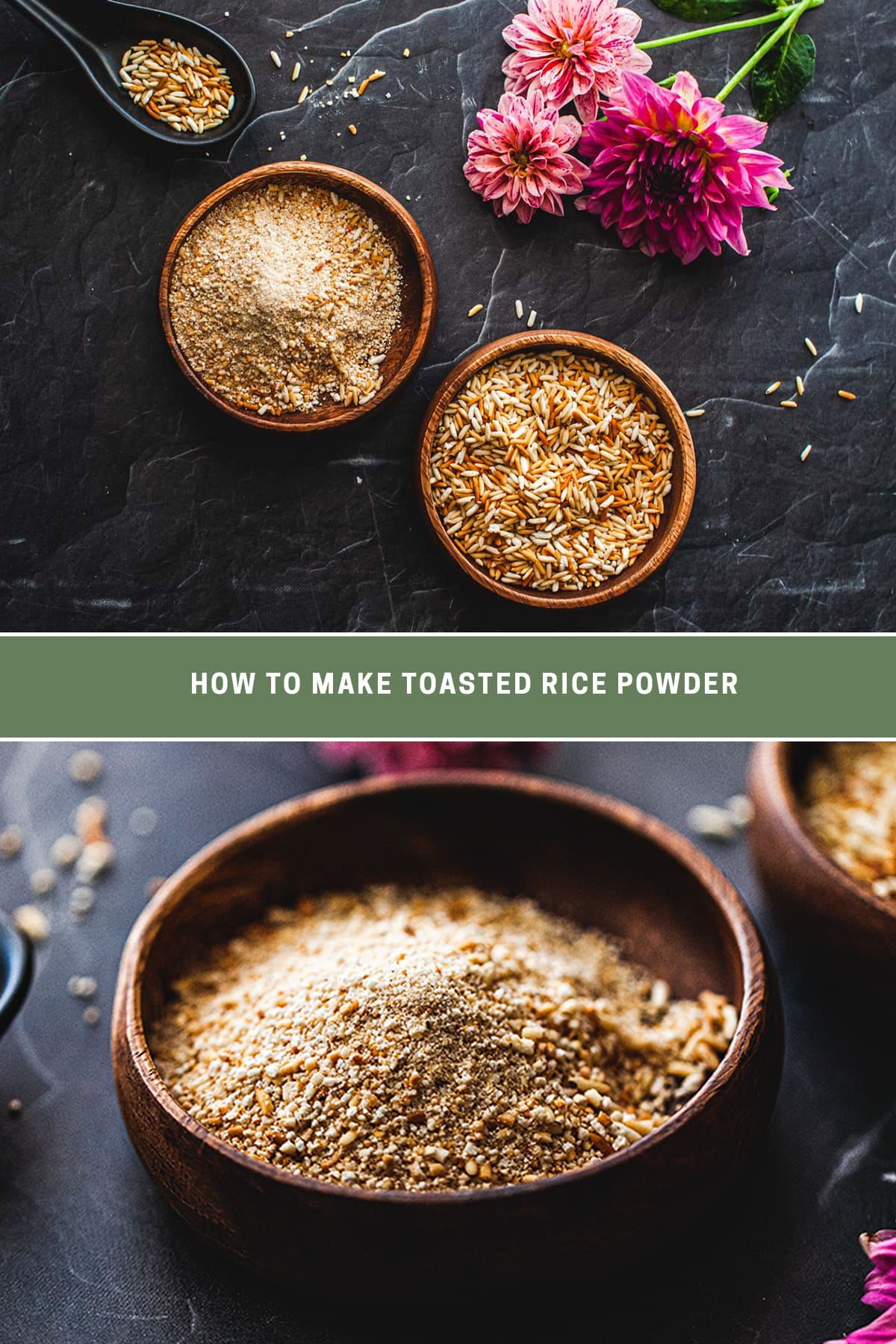 2 image collage of 3 small wooden bowls of golden toasted rice powder