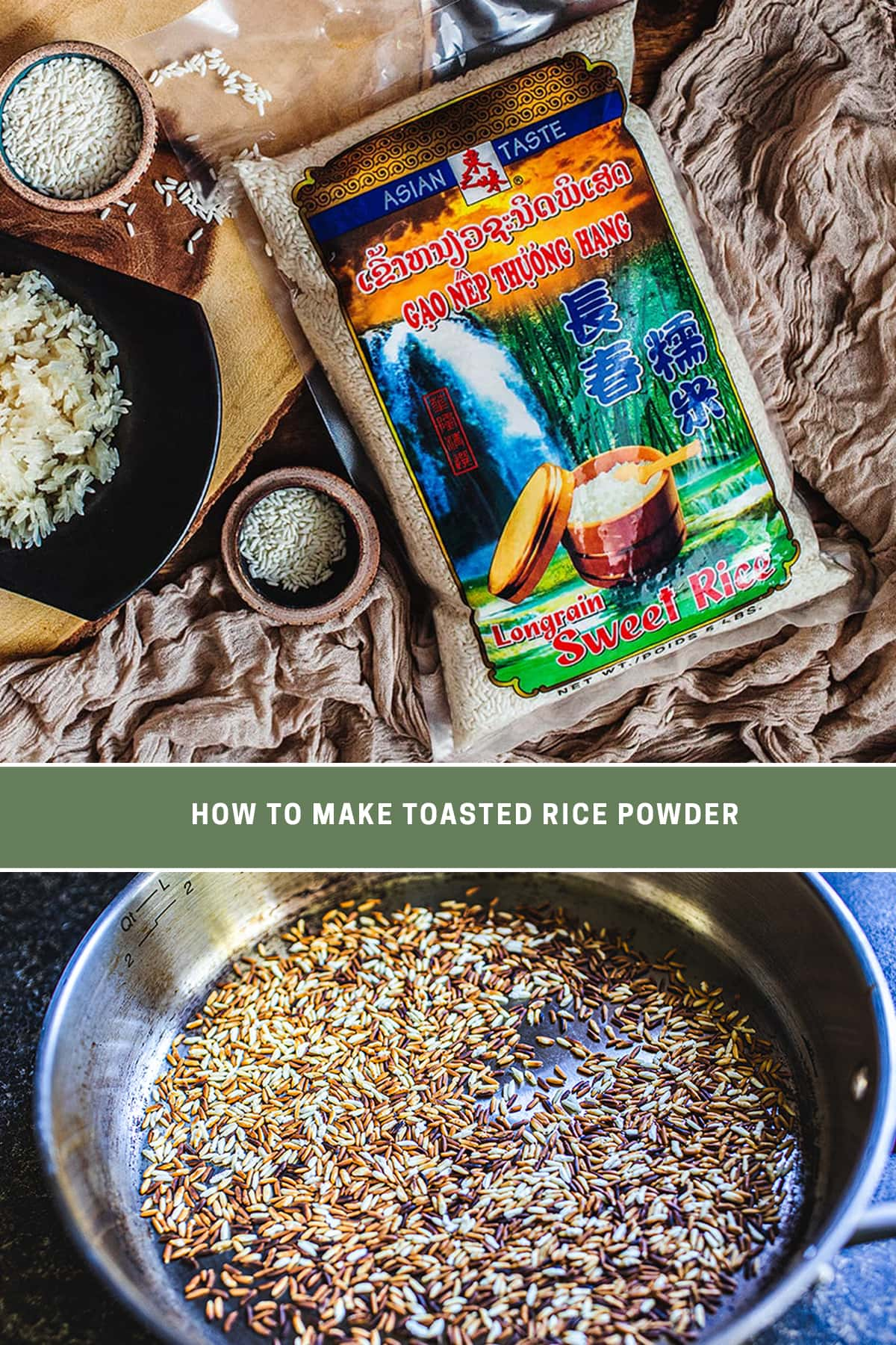 2 image collage of sticky rice and toasted rice grain in a pan